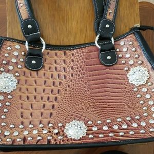 Black and brown leather animal skin jeweled purse